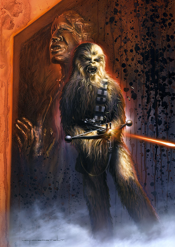 Chewbacca Han Solo Carbonite Art