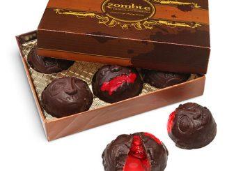 Chocolate Zombie Head Bon Bons with Cherry Brains