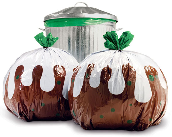 Christmas Pudding Trash Bag
