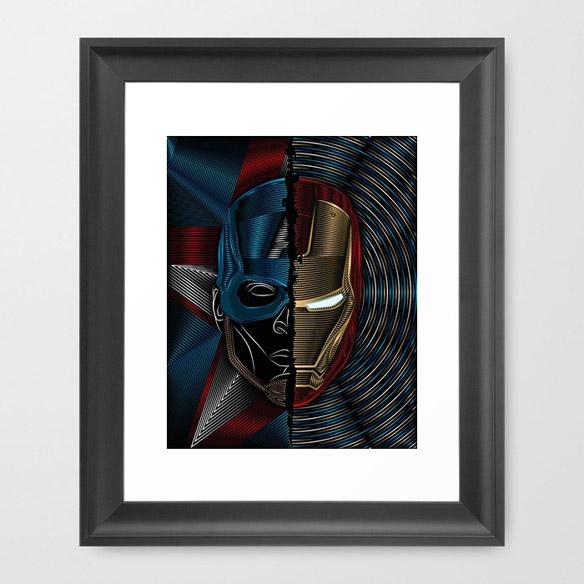 Civil War Captain America Iron Man Art Print