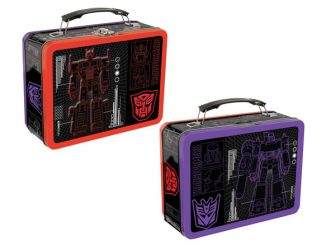 Classic Optimus Prime and Megatron Transformers Tin Tote