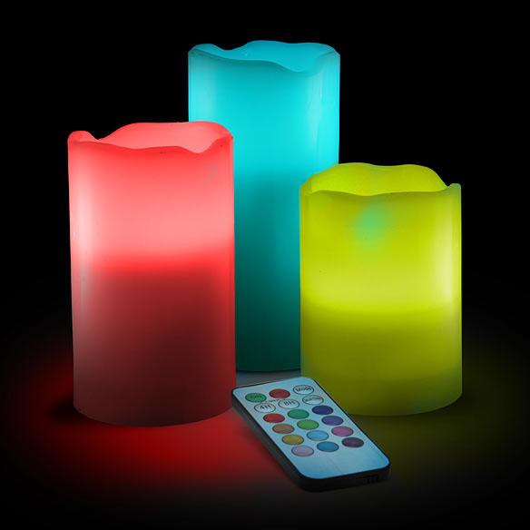 color change led candle set with remote geekalerts. Black Bedroom Furniture Sets. Home Design Ideas