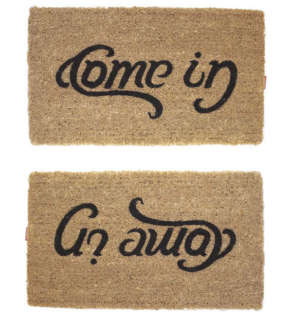 come in go away doormat