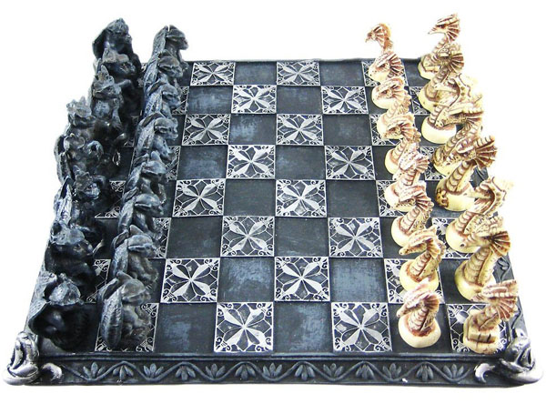 Cool Gothic Dragon And Gargoyle Chess Set