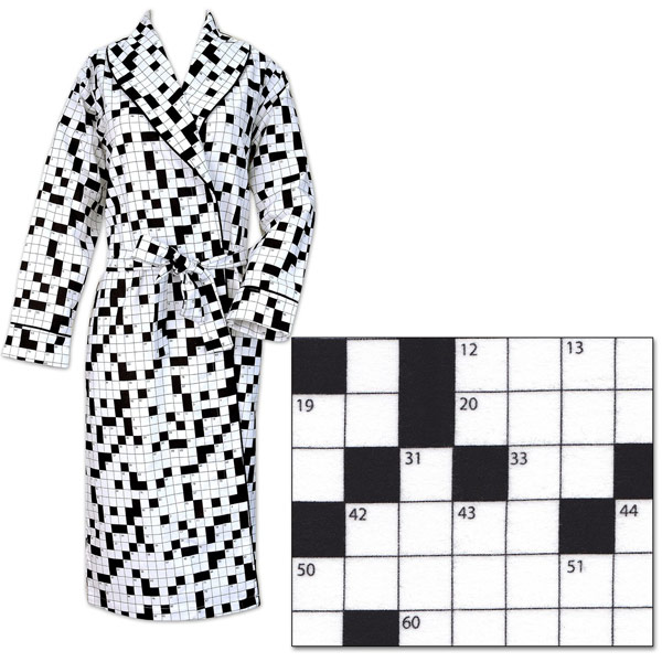 Crossword-Crossword Puzzle Flannel Robe-Flannel-Robe