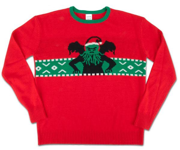Big Cthulhu Ugly Lovecraft Christmas Sweater Red Adult Sweatshirt
