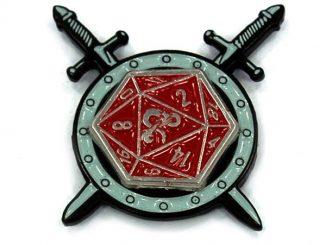 D20 Cross-sword Spinner Pin