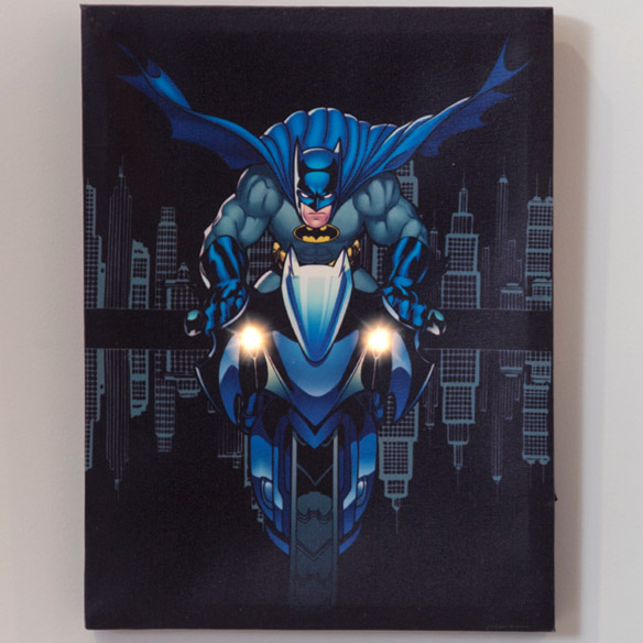 DC Comics Batman Batcycle Lighted Canvas Wall Art