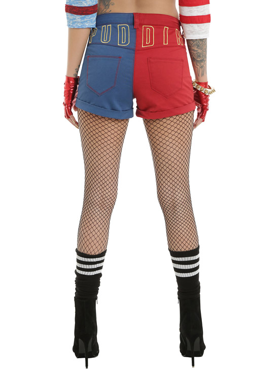 DC Comics Suicide Squad Harley Quinn Lace-Up Split Shorts_back