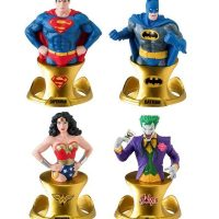 DC Comics Superman, Batman, Wonder Woman and Joker Resin Paperweights with Gold Color Base