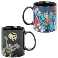 DC Comics Superman and Batman Skyline Mugs