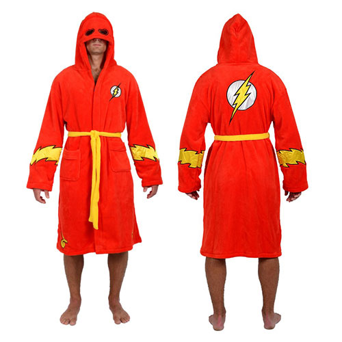 DC Comics The Flash Red Hooded Fleece Bathrobe