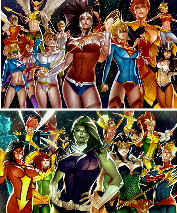 DC Girls vs Marvel A-Force Art Prints