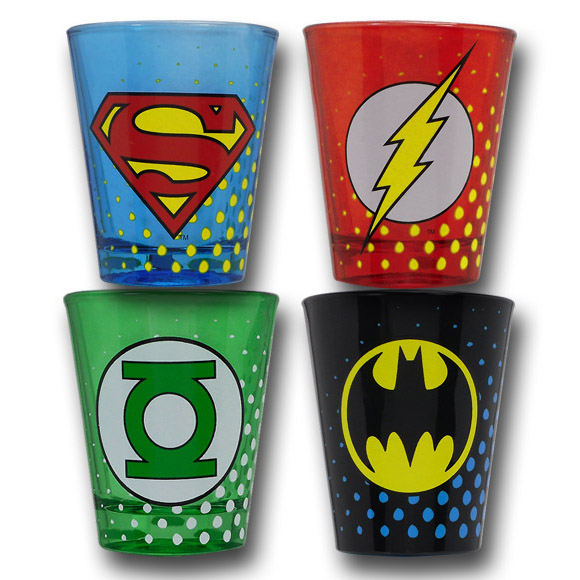 DC JLA Symbol Shot Glass Set of 4