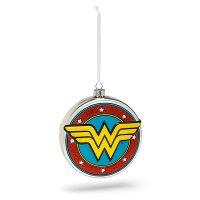 DC Wonder Woman Shield Blown Glass Ornament