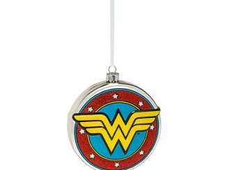 DC Wonder Woman Shield Blown Glass Ornament