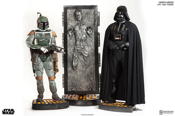 Darth Vader and Boba Fett Life Size Figures with Han Solo in Carbonite Life Size Figure