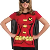 DC Comics Robin T-Shirt With Cape And Eye Mask