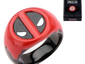 Deadpool Red Blood Stainless Steel Black Ring