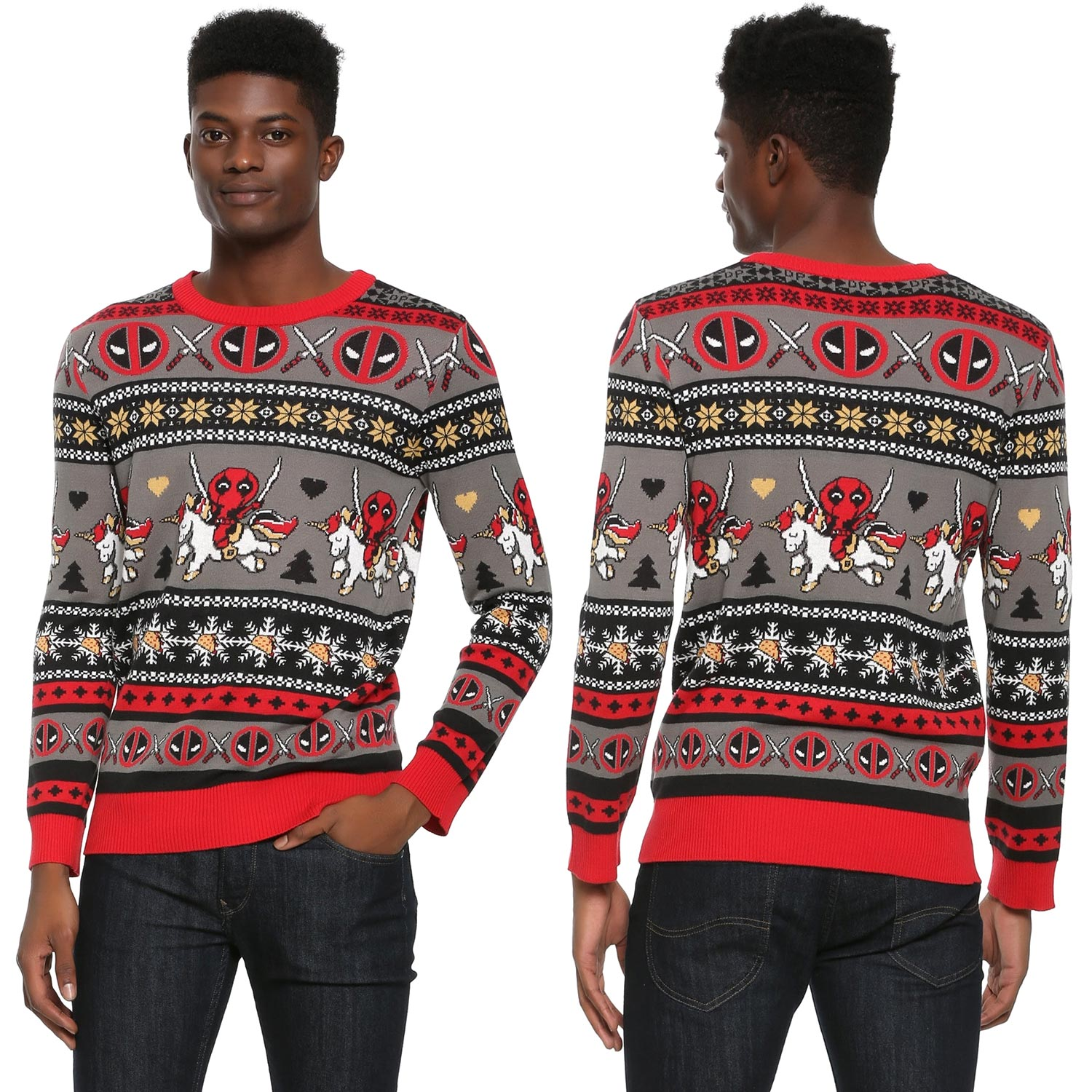 Marvel Deadpool Young Men's Christmas Sweater  Deadpool Christmas Sweater