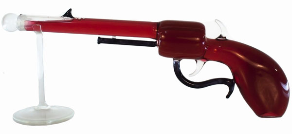Decorative Blown Glass Hand Gun Bottle