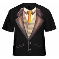 Deluxe Tuxedo T-Shirt With Gold Tie