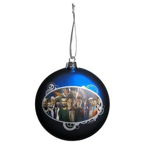 Doctor Who 11 Doctors Glass Ball Christmas Ornament