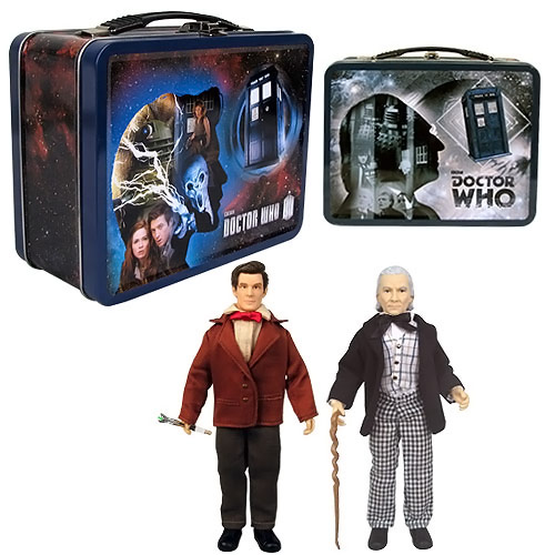 Doctor Who 1st and 11th Doctor Action Figures in Tin Tote