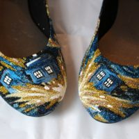 Doctor Who EXPLODING TARDIS Glitter Shoes - front