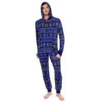 Doctor Who Exterminate Adult Navy One-Piece Pajama Onesie