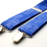 Doctor Who Gallifreyan Formal Wear - Blue with White TARDIS suspenders