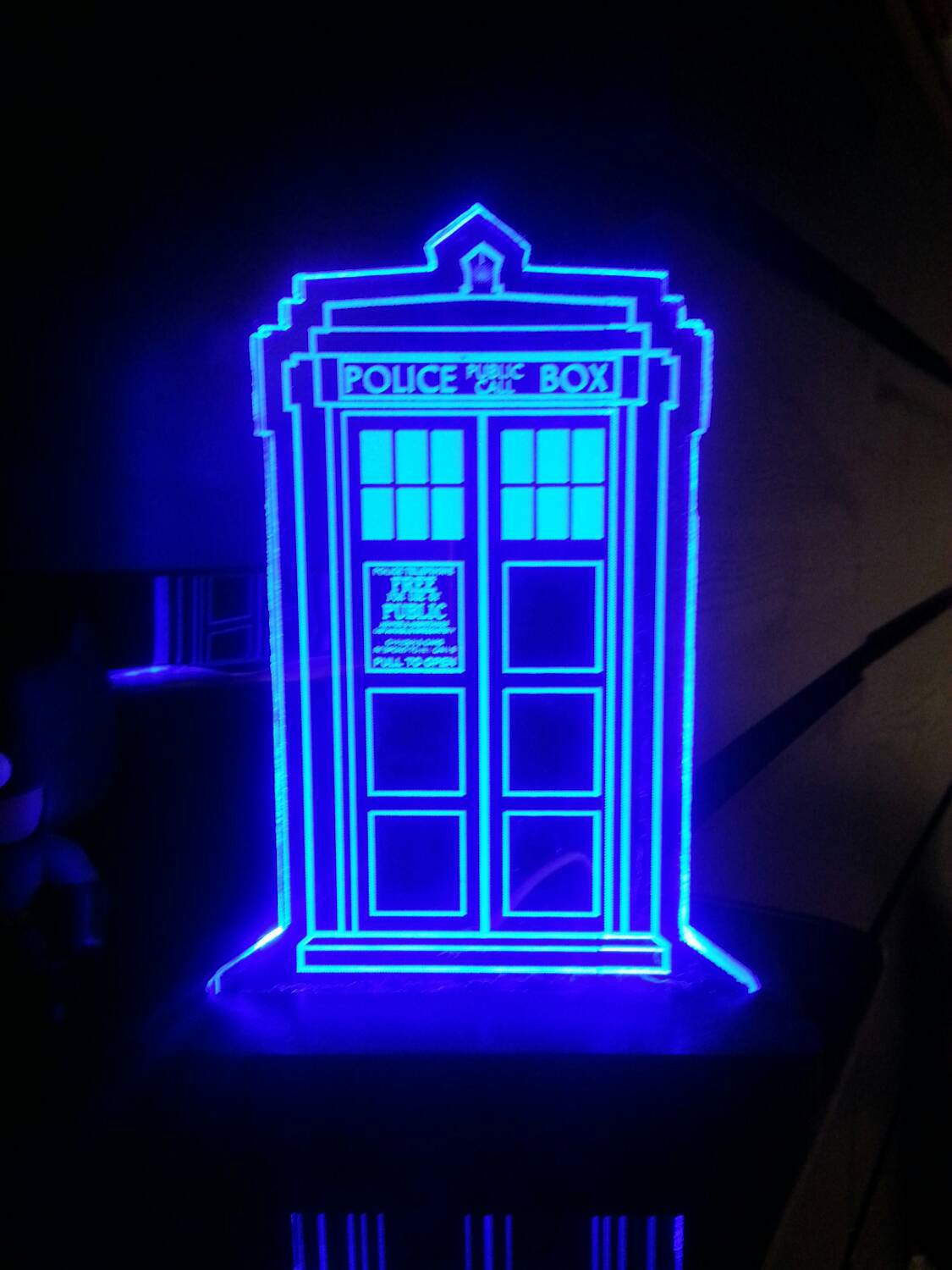 The Doctor Who TARDIS Acrylic Display Sign is available for $36.99 at HeroLightsu0027 Etsy store. & Doctor Who TARDIS Acrylic Display Sign