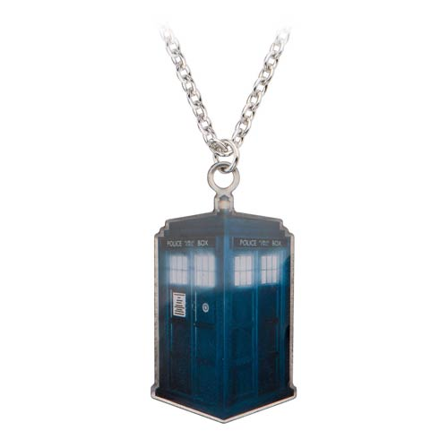 doctor who tardis tag pendant with chain necklace