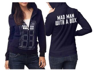 Doctor Who TARDIS Follow Me Juniors Navy Zip-Up Hoodie