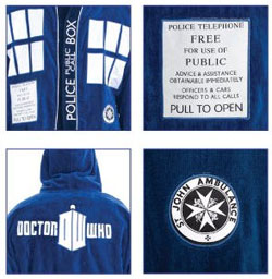 Doctor Who TARDIS Hooded Blue Cotton Bath Robe