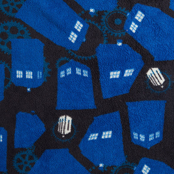 Doctor Who TARDIS and Gears Fleece Bathrobe