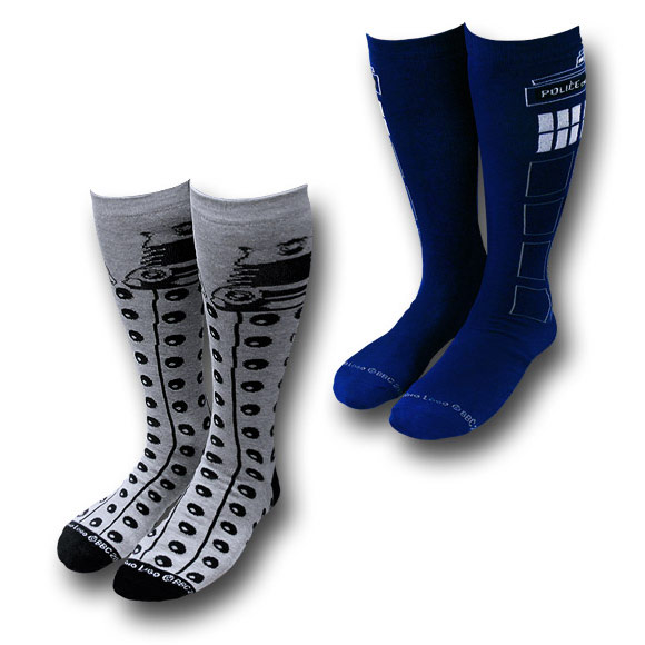 Doctor Who Tardis and Dalek Socks