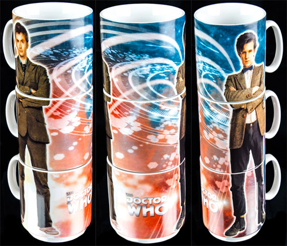 Doctor Who Tenth and Eleventh Doctor Stacked Mugs