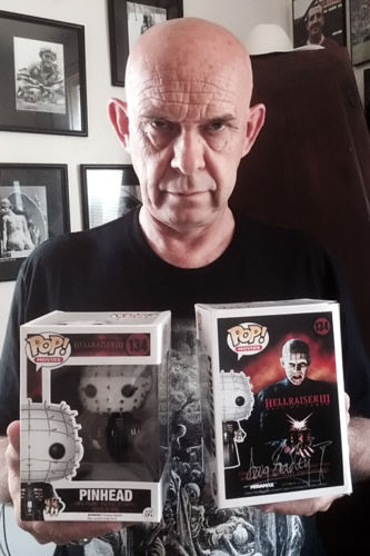 Doug Bradley with Autographed Pinhead Pop Vinyl Figure