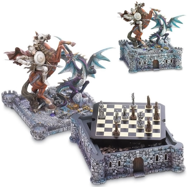 Dragon and Knight Medieval Chess Board Game