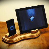 Dual Walnut Wooden Docking Station