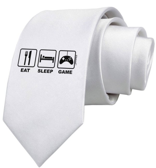 Eat Sleep Game Design Printed White Neck Tie