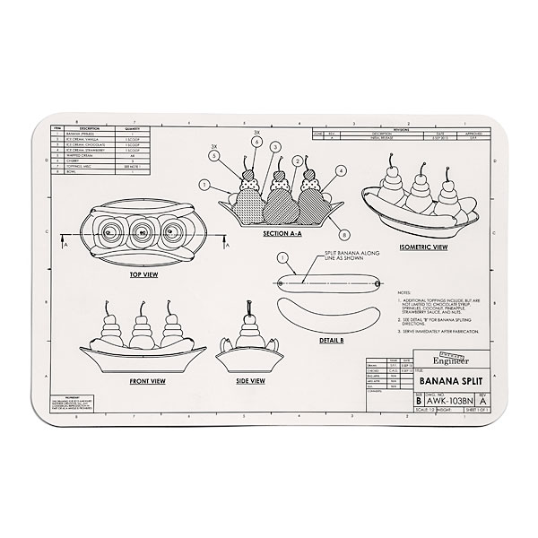 Blueprint placemats engineering blueprint placemats malvernweather Choice Image