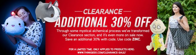 Extra 30% Off ThinkGeek Clearance