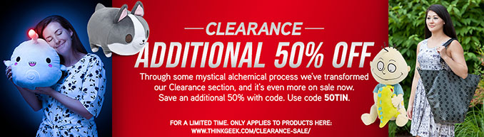 Extra 50% Off ThinkGeek Clearance Promo Code