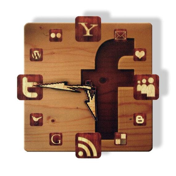 Facebook Wood Icon Wall Clock