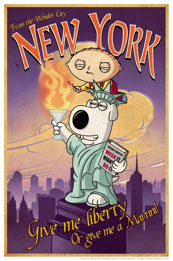 Family Guy Road to New York Lithograph Print