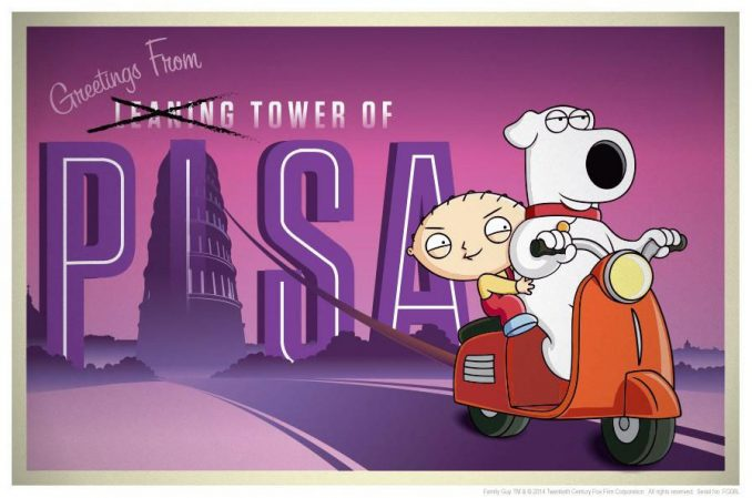 Family Guy Road to Pisa Lithograph Print