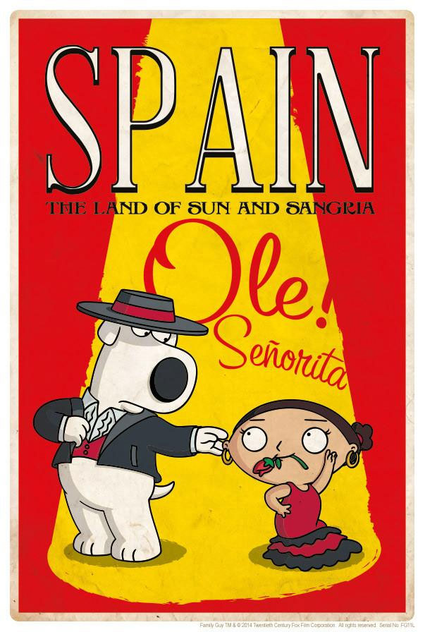 Family Guy Road to Spain Lithograph Print