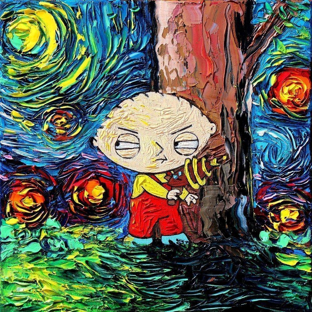 Family Guy Stewie Starry Night Print